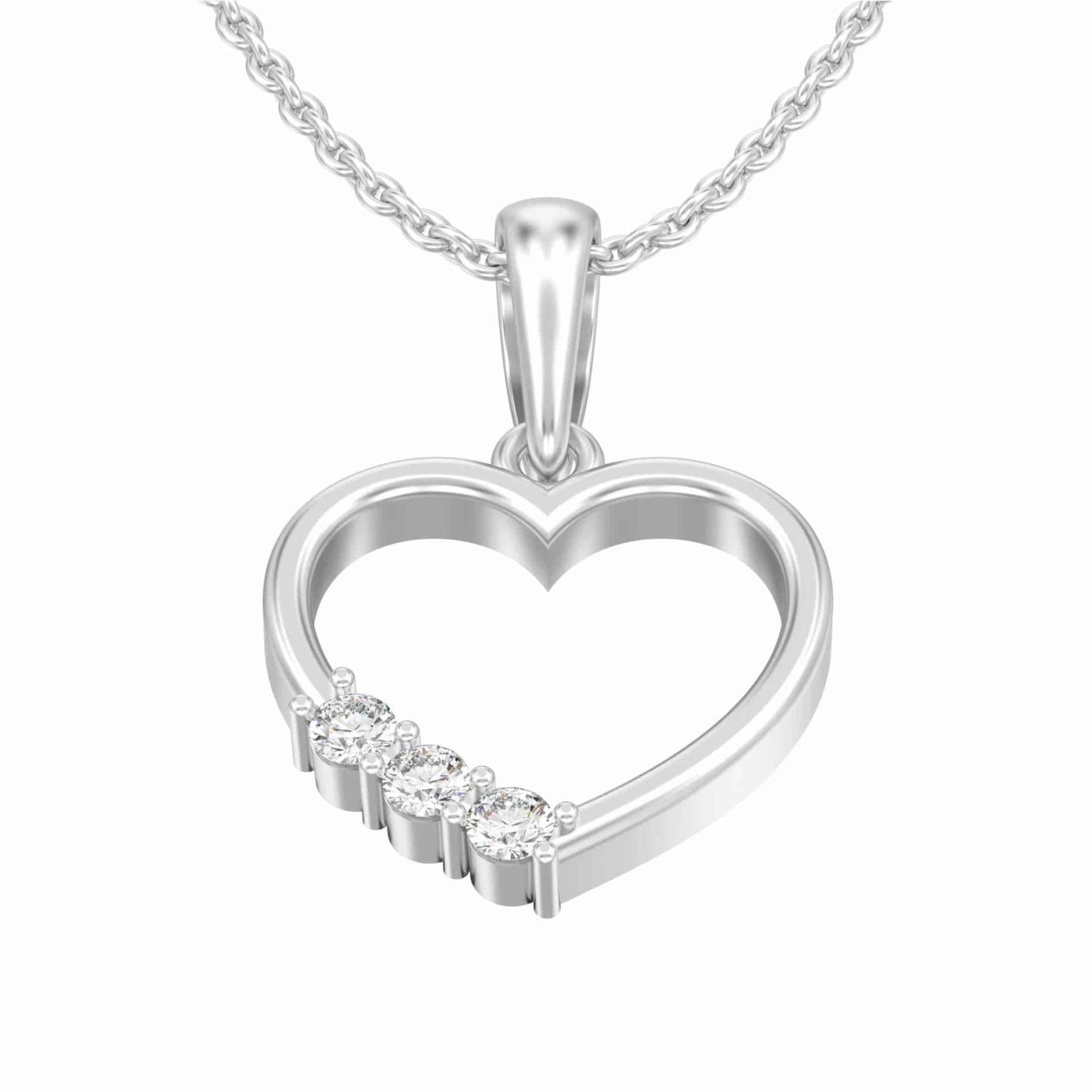 3 diamonds heart necklace