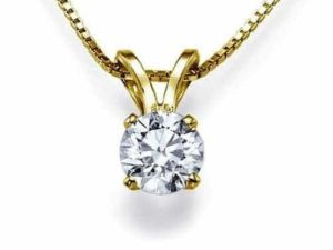 necklace single diamond gold