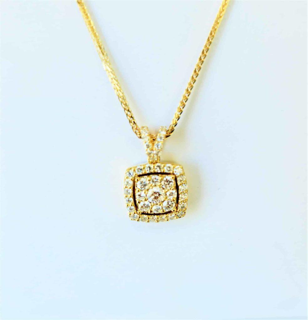 lab diamonds necklace pendent yellow